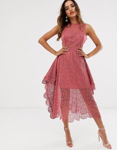 Read more about Asos design midi dress in circle broderie lace with pinny bodice