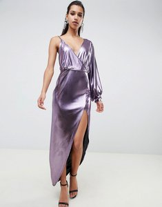 Read more about Asos design 70s metallic sleeve detail midi dress - purple
