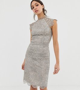 Read more about Chi chi london tall scallop lace pencil dress in grey