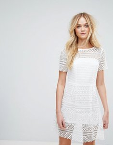 Read more about Paper dolls mini skater dress in heavy crochet lace - white