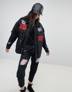 Read more about Kubban as if embroidered oversized denim jacket - black