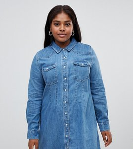 Read more about Asos design curve denim fitted western shirt dress with seam detail - blue