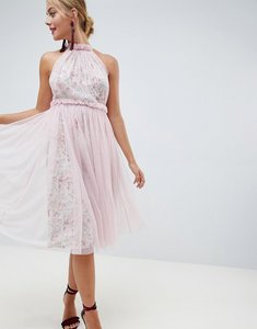 Read more about Asos design floral print midi dress with tulle overlay - floral print