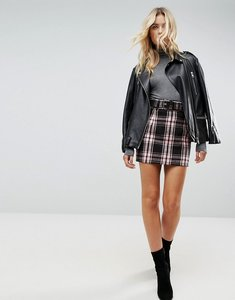 Read more about Asos check mini skirt with belt - multi