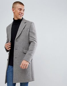 Read more about Asos wool mix overcoat in puppytooth check - brown