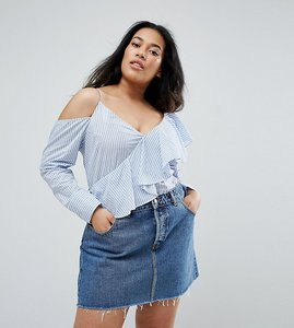 Read more about Asos curve deconstructed shirt with ruffle - stripe