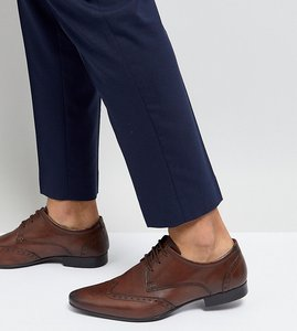 Read more about Silver street wide fit smart brogues in brown leather - brown