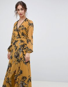 Read more about Hope ivy long sleeve wrap front maxi dress in bird print - ochre print