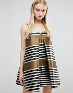 Read more about Asos jacquard stripe cami mini trapeze dress - gold