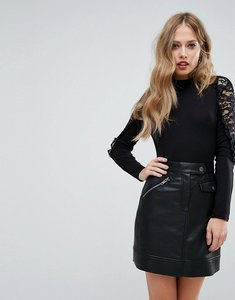 Read more about Fashion union high neck body with lace shoulder detail - black