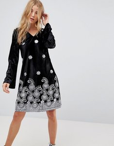 Read more about Glamorous long sleeve swing dress in velvet with premium metallic embroidery - black