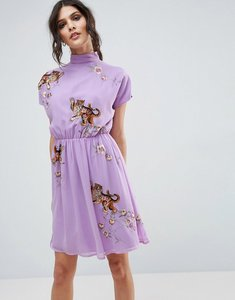 Read more about Asos premium open back tea dress with tiger embroidery - purple