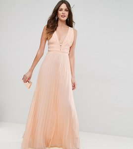 Read more about Asos tall plunge strap detail pleated maxi dress - nude