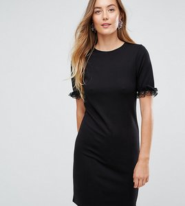 Read more about Asos tall t-shirt dress in ponte with lace frill sleeve - black