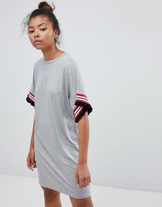 Read more about Asos design t-shirt dress in grey marl with frill tipped sleeve - grey