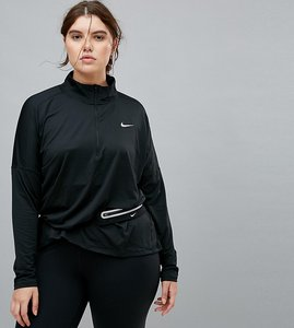 Read more about Nike plus running dry element half zip top in black - black reflective si