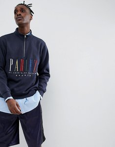 Read more about Parlez 1 4 zip sweat with embroidered multi colour chest logo in navy - navy