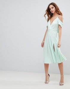 Read more about Asos cold shoulder cowl back pleated midi dress - mint