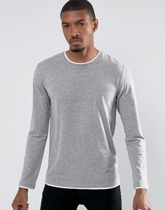Read more about Esprit long sleeve t-shirt with contrast hem details - grey 035