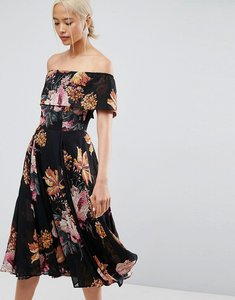 Read more about Asos bardot midi dress in floral print - multi