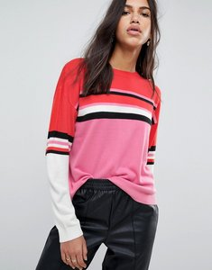 Read more about Asos jumper with crew neck in colour block stripe - multi