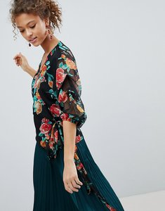 Read more about Miss selfridge floral print wrap front blouse - multi
