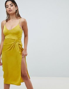 Read more about Asos design sexy hammered satin midi dress with knot side - chartreuse