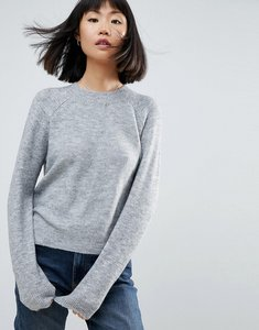 Read more about Asos jumper in fluffy yarn with crew neck - grey marl