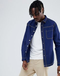 Read more about Asos design washed overshirt shirt with contrast stitching in navy - navy