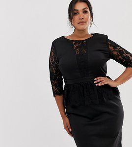 Read more about Paper dolls plus lace trim midi dress with lace peplum - black