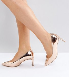 Read more about Asos soulful wide fit pointed heels - nude metallic