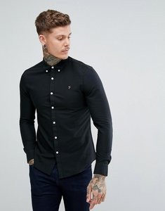 Read more about Farah brewer slim fit oxford shirt in black - black 004