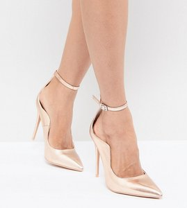 Read more about Lost ink rose gold ankle strap court shoes - rose gold smooth