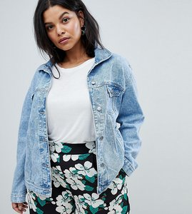 Read more about Brave soul plus frida denim jacket with frill detail - acid mid wash
