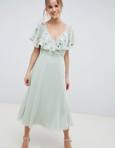 Read more about Asos design embellished wrap midi dress with flutter sleeve - pastel green