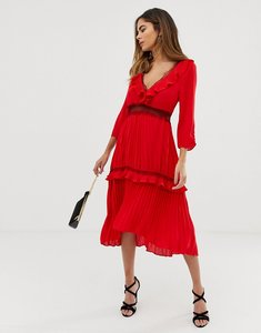 Read more about Liquorish pleated midi dress with contrast lace inserts and ruffle detail