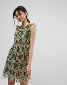 Read more about Tresophie embrodered frill dress - green pattern