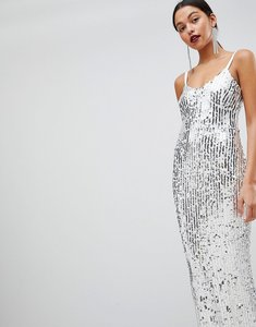 Read more about Club l mermaid silver sequins strappy fishtail detailed maxi dress - white silver