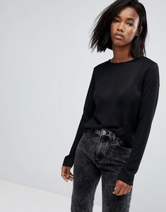 Read more about Noisy may knitted crew neck jumper - black