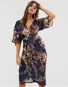 Read more about Hope ivy kimono sleeve midi dress with knot front detail in floral print - navy base leaf
