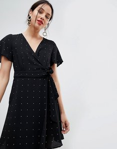Read more about Unique21 polka dot wrap front dress - black polka