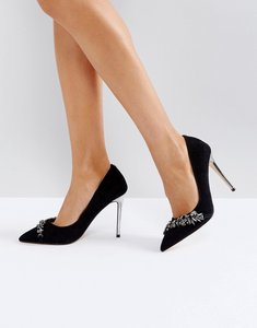 Read more about Carvela jewel detail pointed heeled shoe - black