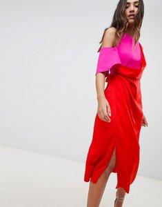 Read more about Asos design colour block satin asymmetric drape pencil midi dress - red pink