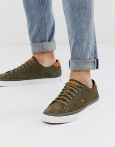 Read more about Tommy hilfiger canvas suede plimsol in green with flag logo