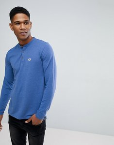 Read more about Le shark pique marl long sleeve henley - blue