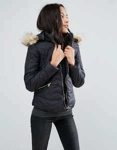 Read more about Brave soul zip padded coat - black
