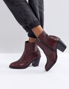 Read more about Office angie burgundy heeled leather ankle boots - burgundy