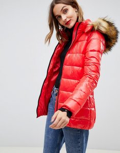 Read more about Gianni feraud quilted jacket with faux fur hood - red