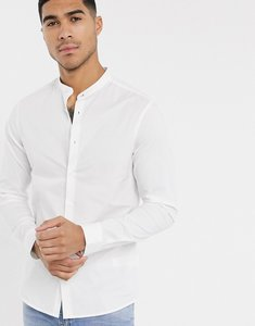 Read more about Asos design skinny shirt in white with grandad collar - white