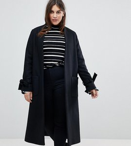 Read more about Helene berman plus tie sleeve wool blend duster coat - black